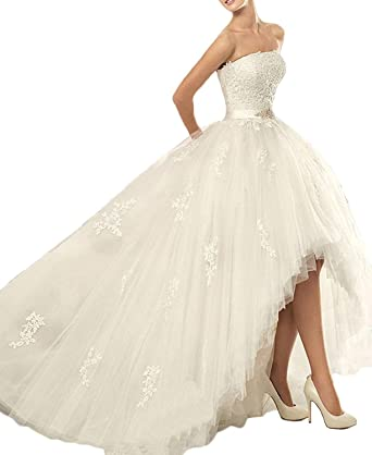 WDE Womens Vestido De noiva High Low Beach Wedding Dress Bride Gowns Ivory ...