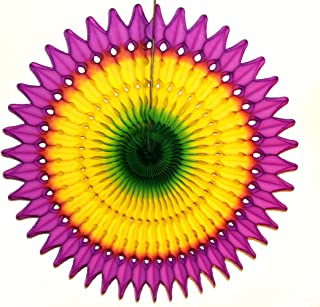 product image for 3-Pack 21 Inch Tissue Paper Party Fan (Mardi Gras - Purple/Yellow/Green)