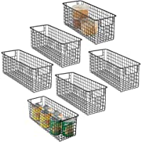 mDesign Narrow Farmhouse Decor Metal Wire Food Storage Organizer Bin Basket with Handles for Kitchen Cabinets, Pantry…