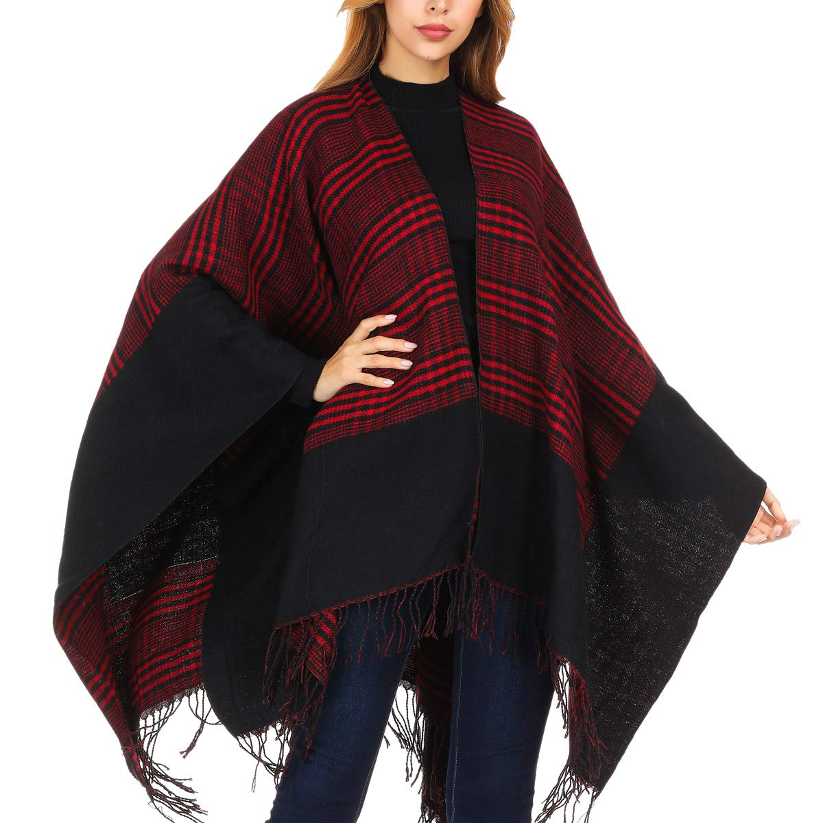 DoFiyeng Women Poncho Shawl Poncho Cape Cardigan Open Front Elegant Cape Wrap Shawl Wrap(Black red stripes) by DoFiyeng