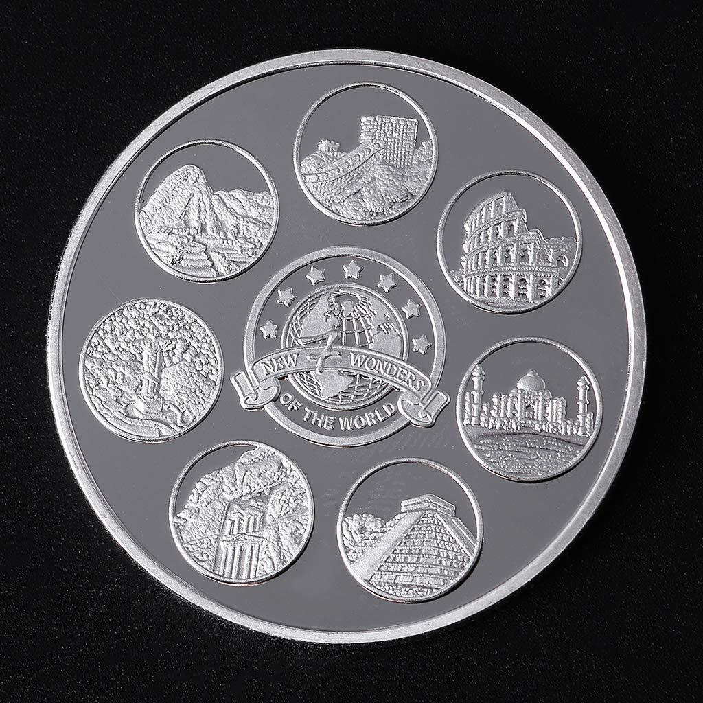 wuhan HANGZHI Colecci/ón de Monedas Conmemorativas de Las Siete Maravillas del Mundo Regalo Recuerdo Arte Metal Antiguo
