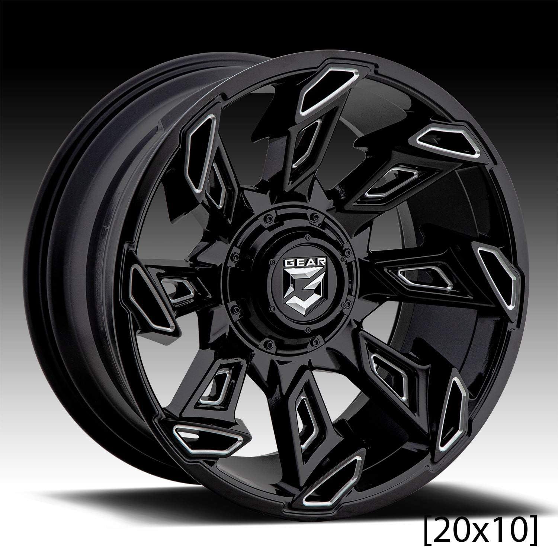 Gear Alloy 752BM Slayer 20x10 6x135//6x5.5-25mm Black//Milled Wheel Rim 20 Inch