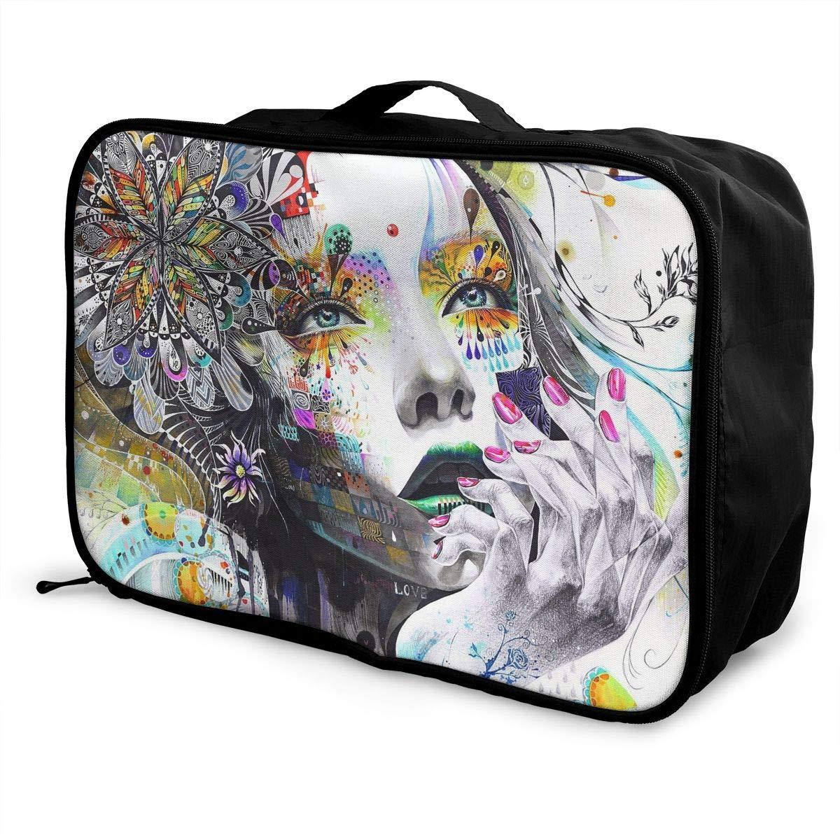 Travel Luggage Duffle Bag Lightweight Portable Handbag Cool Modern Girl Pattern Large Capacity Waterproof Foldable Storage Tote