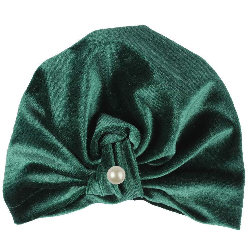 MALLOOM Newborn Baby Boy Girl Pearls Pleuche Knotted Hat Beanie Cap Headwear Army Green