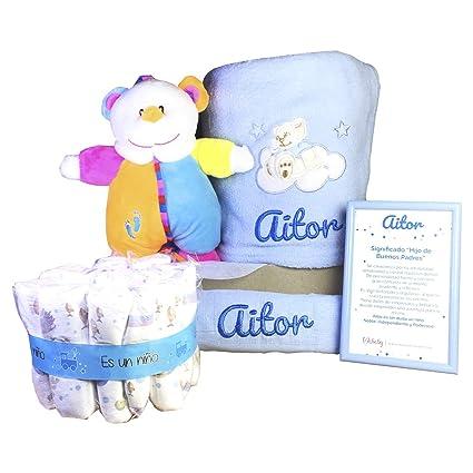 MabyBox My Musical Toy | Canastilla bebé | Cesta de Regalo Recién Nacido Personalizada | Set regalo Recién Nacido (Azul)