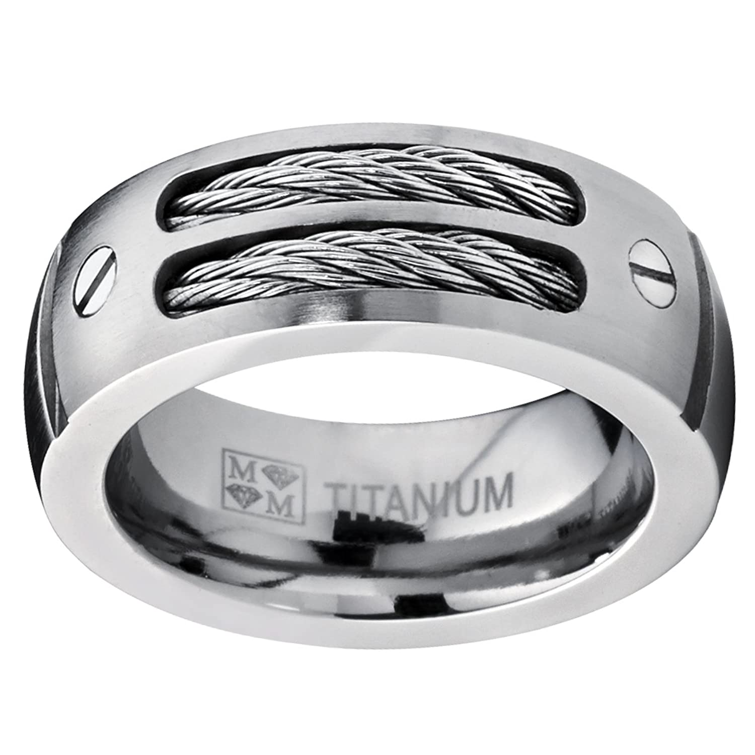 8mm men s titanium ring wedding band with stainless steel cables