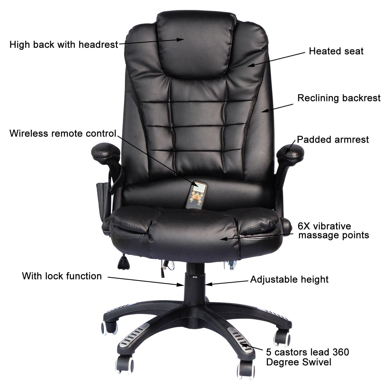 Amazon Hom High Back Executive Ergonomic PU Leather Heated