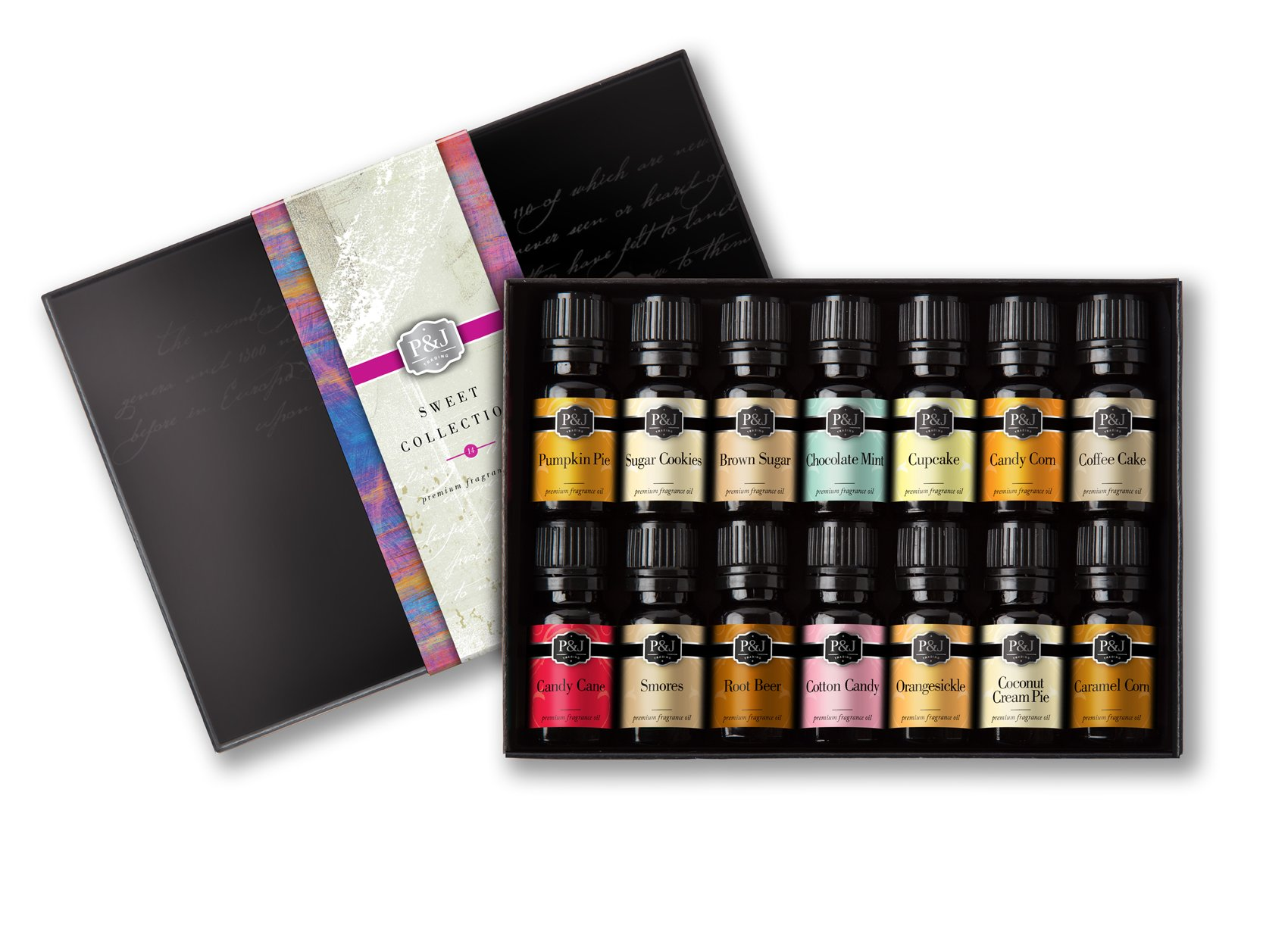 Sweet Set of 14 Premium Grade Fragrance Oils - 10ml by P&J Trading