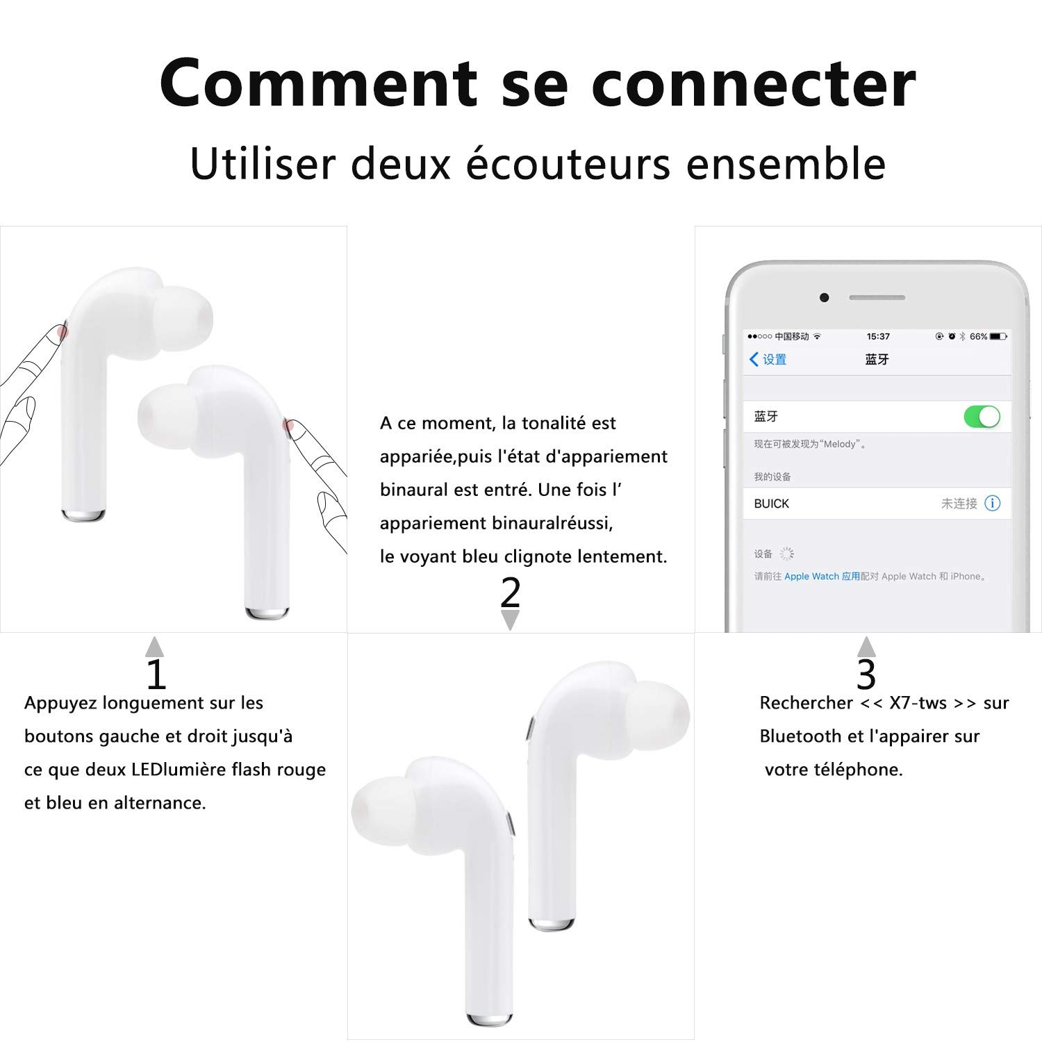Wireless Earbuds,Wireless Headphones with Microphone Mini in-Ear Earphones Noise Cancelling Headsets with Portable Charging-ZQ-02