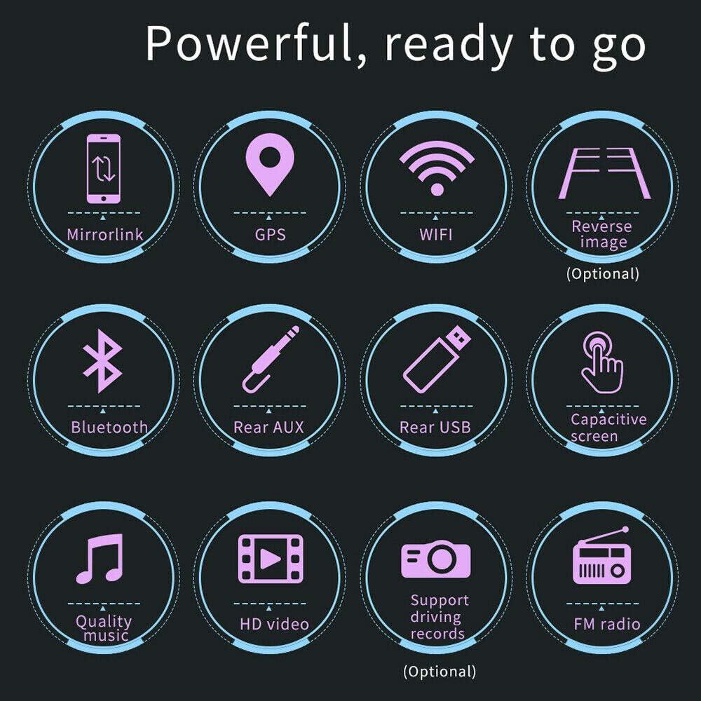 Nrpfell 7 Pulgadas 2 DIN Android 8.1 Reproductor Est/éReo de Coche MP5 Pantalla de Prensa Radio FM GPS WiFi BT Unidad Principal con C/áMara