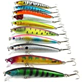 Aorace 10pcs/lot Fishing Lure Minnow Lure Minnow Baits Tackle 6# High Carbon Steel Anchor Hook 10colors 9.5CM/8.5G