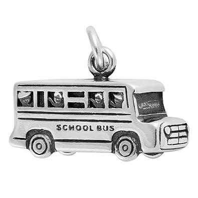 SILVER 925 3D BOXY SCHOOL BUS CHARM//PENDANT