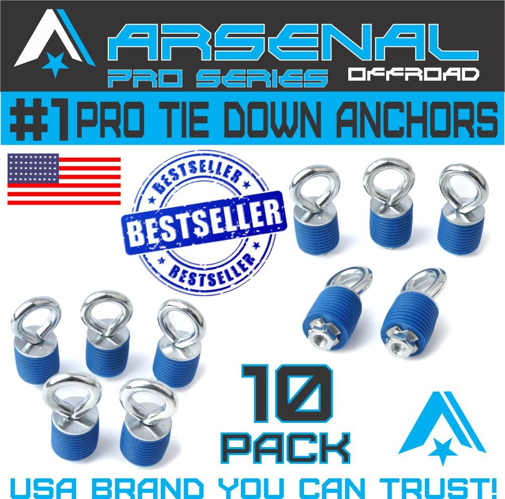 Polaris Twist & Lock ATV 1' Tie Down Anchors for RZR Sportsman and Ace - Set of 10 Twist & Lock Anchors by Arsenal ATV Anchors - THESE DO NOT FIT RANGER MODELS Arsenal Offroad Inc. A-UTV-TD-10PC