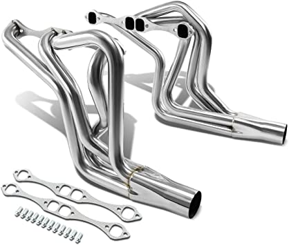 For Chevy Small Block V8 4-1 Design 2pcs Black Coated Stainless Steel Exhaust Header Kit