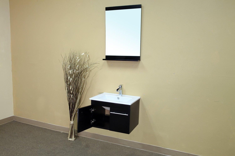 Bellaterra Home 203172-S 24.4-Inch Single Wall Mount Style Sink Vanity, Wood, Black by Bellaterra Home (Image #3)