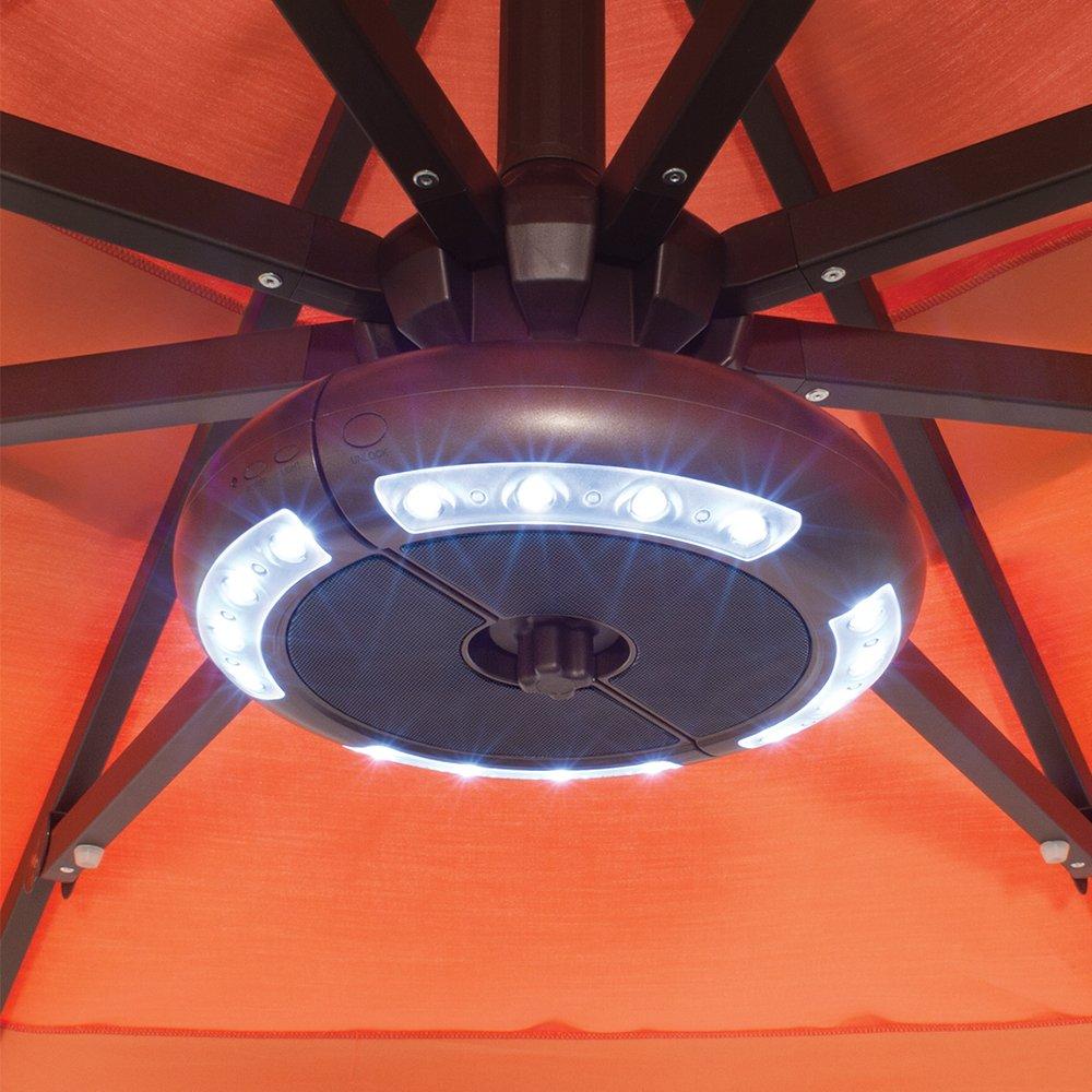 Treasure Garden Luna Cordless Umbrella Light with Built-in Bluetooth Speaker System Bronze