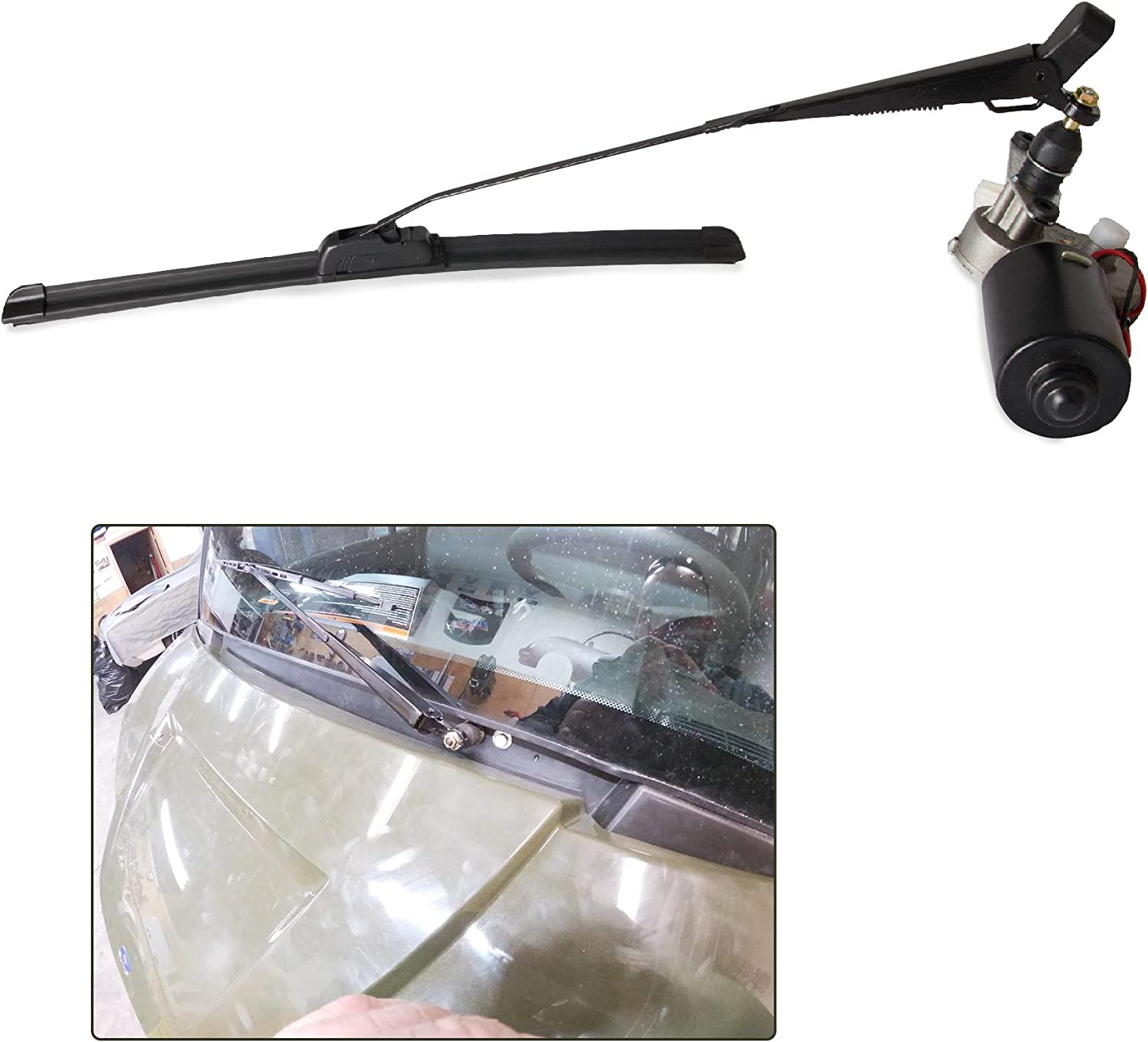 Tepeng Universal 12V Electric UTV Hard Coated Polycarbonat Windshield Wiper Motor windshield Wiper Kit Compatible with Polaris Ranger RZR 900 1000 Can Am etc.