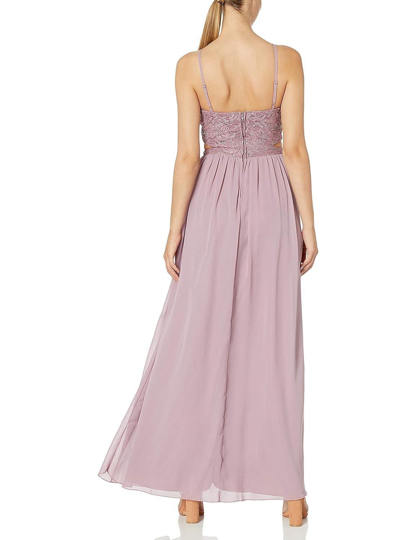 Juniors Speechless Womens Full-Length Dress with Peek-a-Boo Jeweled Waist