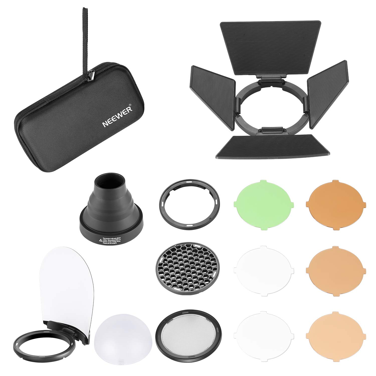 Neewer AK-R1 Round Head Flash Accessories Kit Compatible with V1-S/AD200/H200R Round Flash Light, Portable Magnetic Accessory Kit