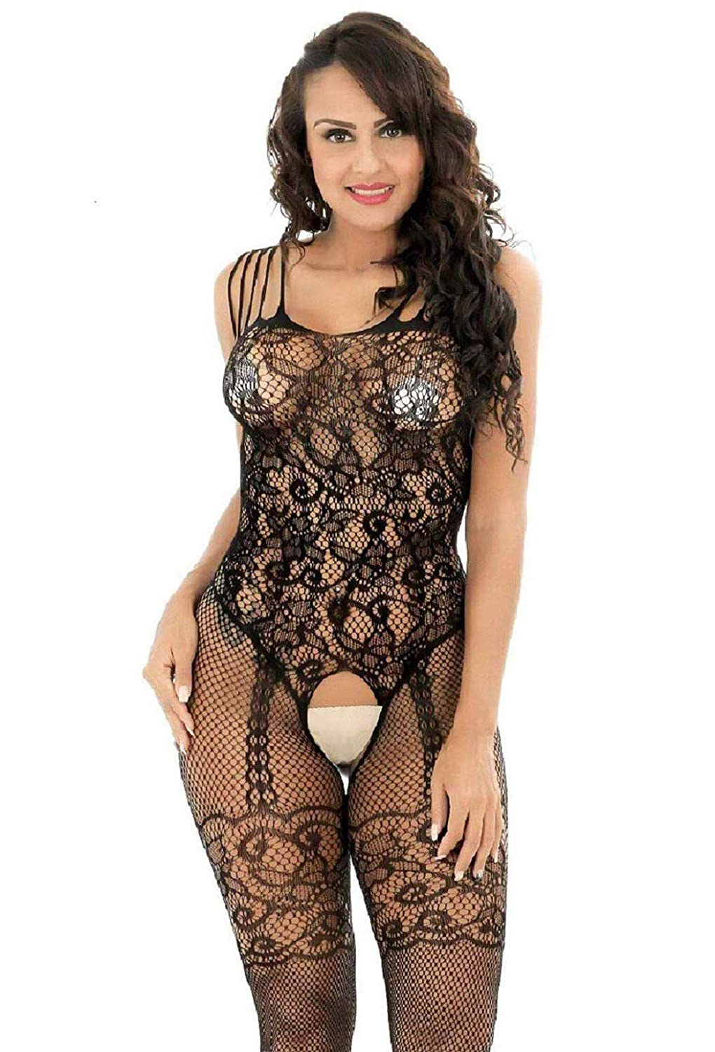 714825e1f73 Amazon.com  EVAbaby Sexy Fishnet Crotchless Bodystocking Lingerie for Women  Sheer Babydoll Teddy Nightie Leotard Body Suit Stocking Black  Clothing