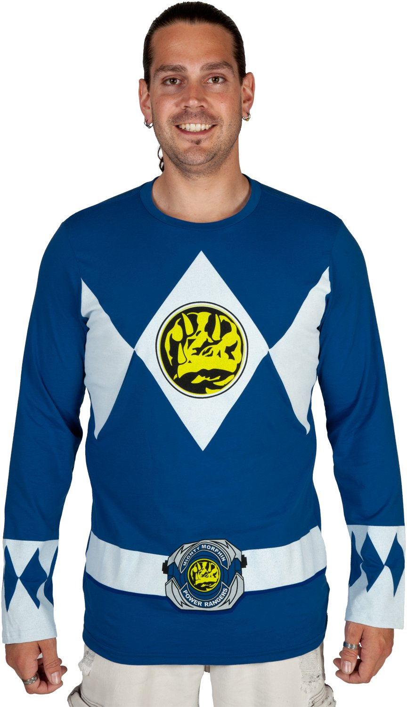 Mighty Fine Men's Blue Ranger Long Sleeve Costume Shirt - X-Large