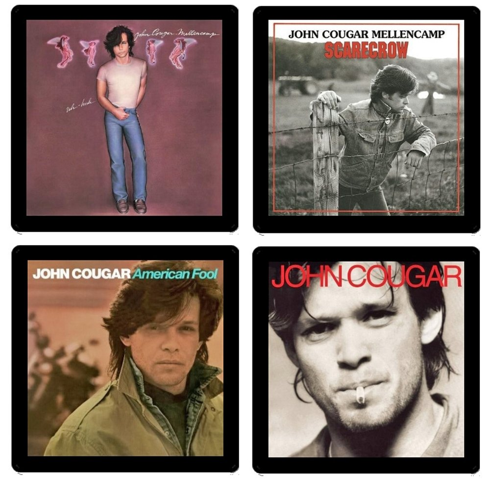 4 Different Album Covers Reproduced on Soft Pliable Coasters John Cougar Mellencamp Collectible Coaster Gift Set #1 ~