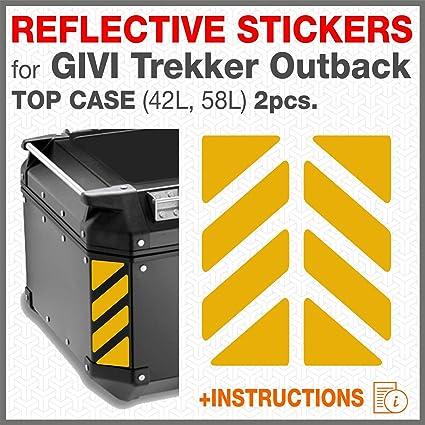 Aluminio Top Case 37 42 48 L Amarillo 2pcs RIFRANGENTI ADESIVI Compatible con GIVI Ba/úl Trekker Outback Monokey
