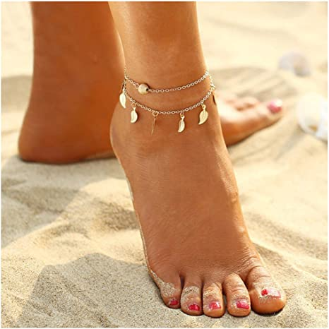 Women Adjustable Silver Plated Ankle Bracelet Anklet Chain Foot Beach Jewelry