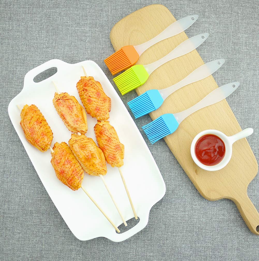 FDIO 5 Pcs Silicone Pastry/Basting/Oil Brush,Kitchen Gadgets for BBQ,Meat,Grilling,Cakes,(Multicolor) 9 MATERIAL: The oil brush head is made of food-grade silicone, which can withstand high temperature. The handle is environment-friendly PP which is non-toxic and durable FIVE COLOR TO CREATE FOOD: Including multiple colour 5 silicone brushes in one set, vibrant colors, avoid flavor crossing by using one color for different seasoning LIGHTWEIGHT DESIGN: The lightweight handle provides a soft comfortable firm grip making basting easy, quick and effortless coating action, can be used in many applications