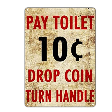 Fluse Pay Toilet Drop Coin Tuen Handle Vintage Metal Art ...