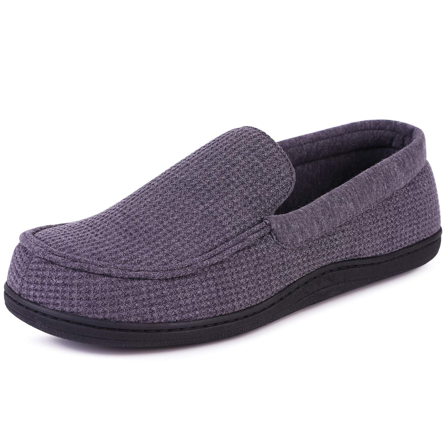 0ba7ddc83269 Men s Comfort Memory Foam Moccasin Slippers Breathable Cotton Knit House  Shoes w Anti-Skid Rubber Sole