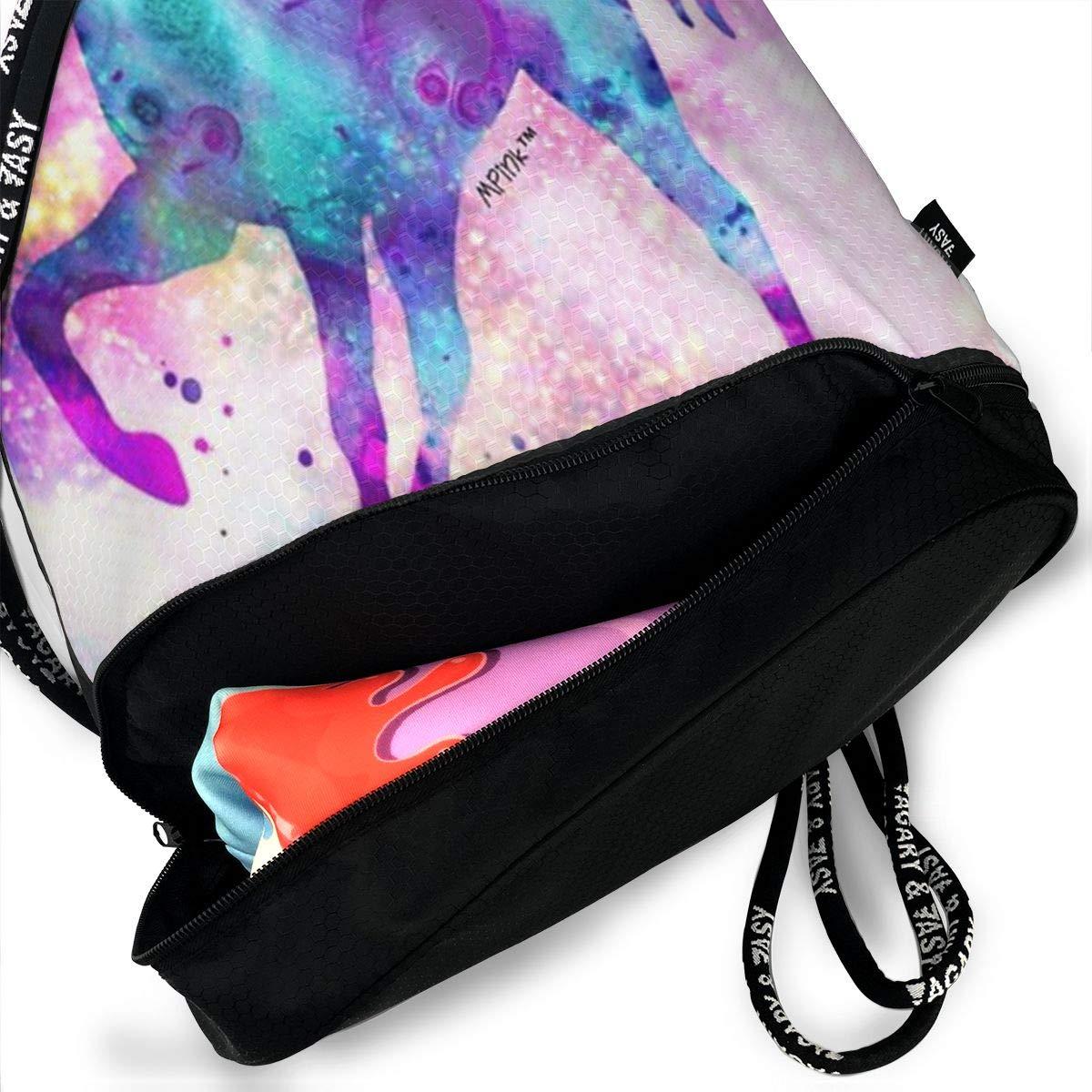 HUOPR5Q Rainbow Unicorn Drawstring Backpack Sport Gym Sack Shoulder Bulk Bag Dance Bag for School Travel