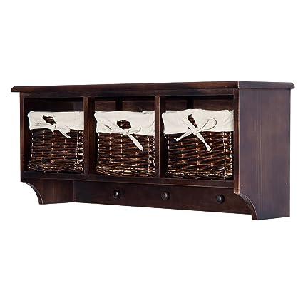 HOMCOM 32u201d Rustic Country Floating Storage Shelf W/Coat Hooks And Removable  Wicker Baskets