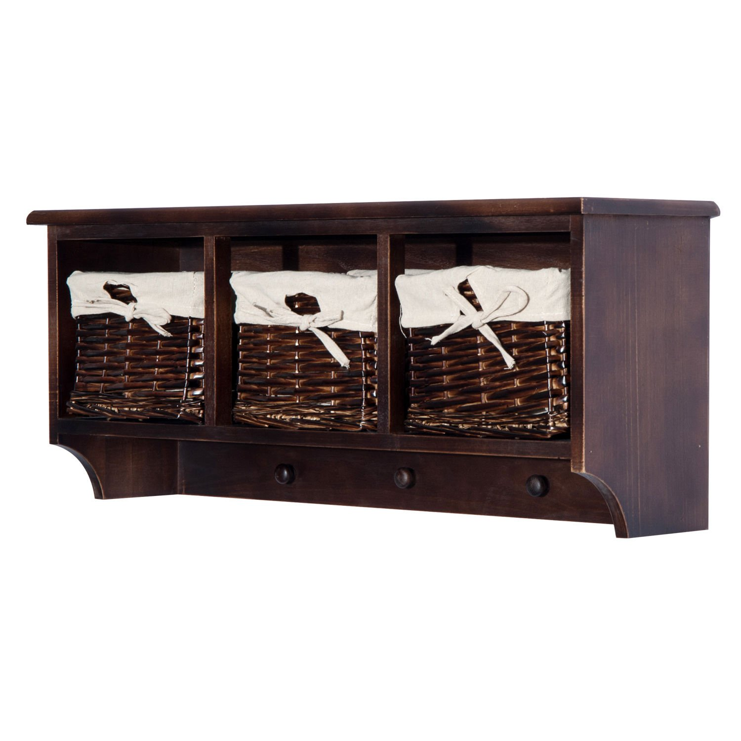 "HOMCOM 32"" Rustic Country Floating Storage Shelf W/Coat Hooks and Removable Wicker Baskets - Coffee Woodgrain"