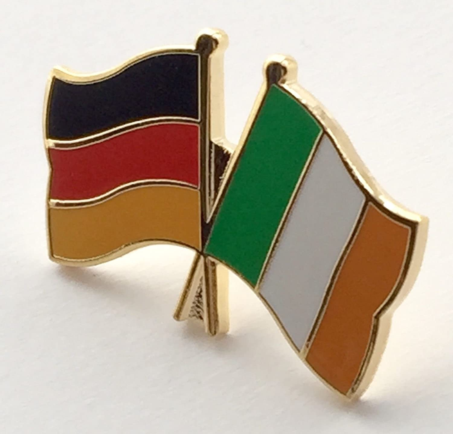 Germany /& England Friendship Flags Gold Plated Enamel Lapel Pin Badge