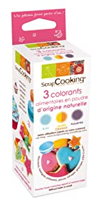 3 natural food colouring purple/orange/blue