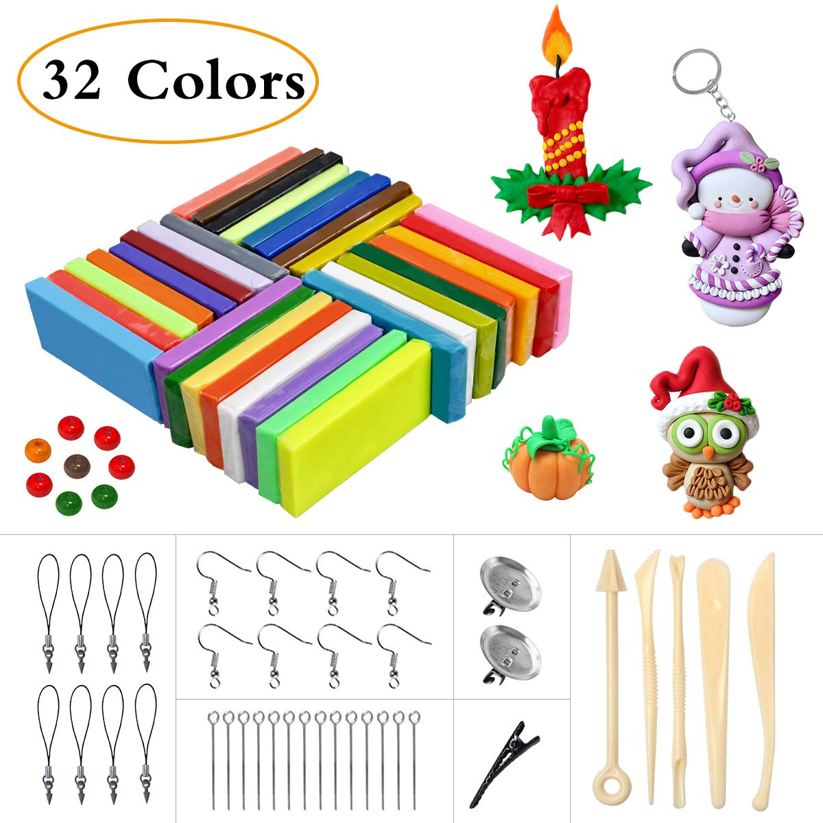 LOYOU Polymer Clay, 26 Colours Oven Bake Clay with Bright Color Soft DIY Clay Set with 5 Tools and 40 Accessories, Moulding Clay Toy Best Gift for Kids