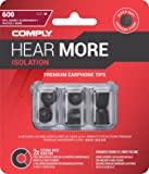Comply Foam Premium Earphone Tips - Isolation T-600 (Black, 3 Pair, Large)
