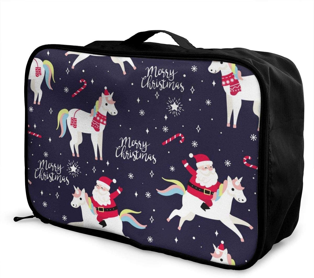 Santa Claus Riding Horse Lightweight LargeTravel Storage Luggage Trolley Bag Travel Duffel Bags Carry-On Tote