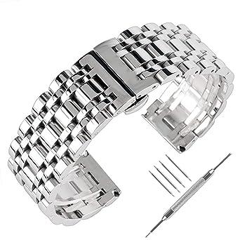 Amazon.com: Correa de reloj de acero inoxidable macizo de ...