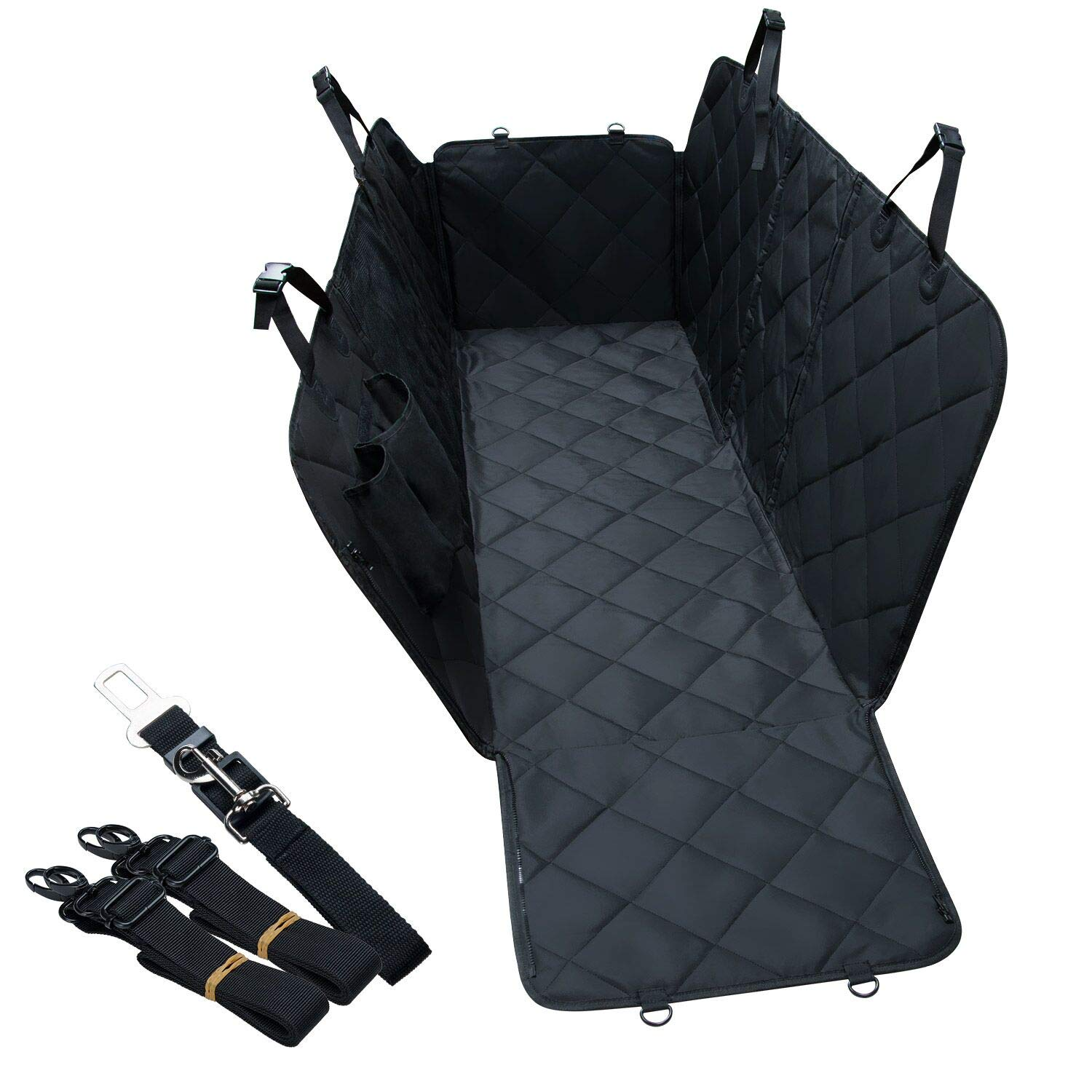 Lychee Pet Dog Car Seat Cover - Scratch Proof & Nonslip Backing, Dog Travel Hammock with Seatbelt Leash and Storage Bag,137x147cm,Universal Fits All Cars(Black) 05-003-009