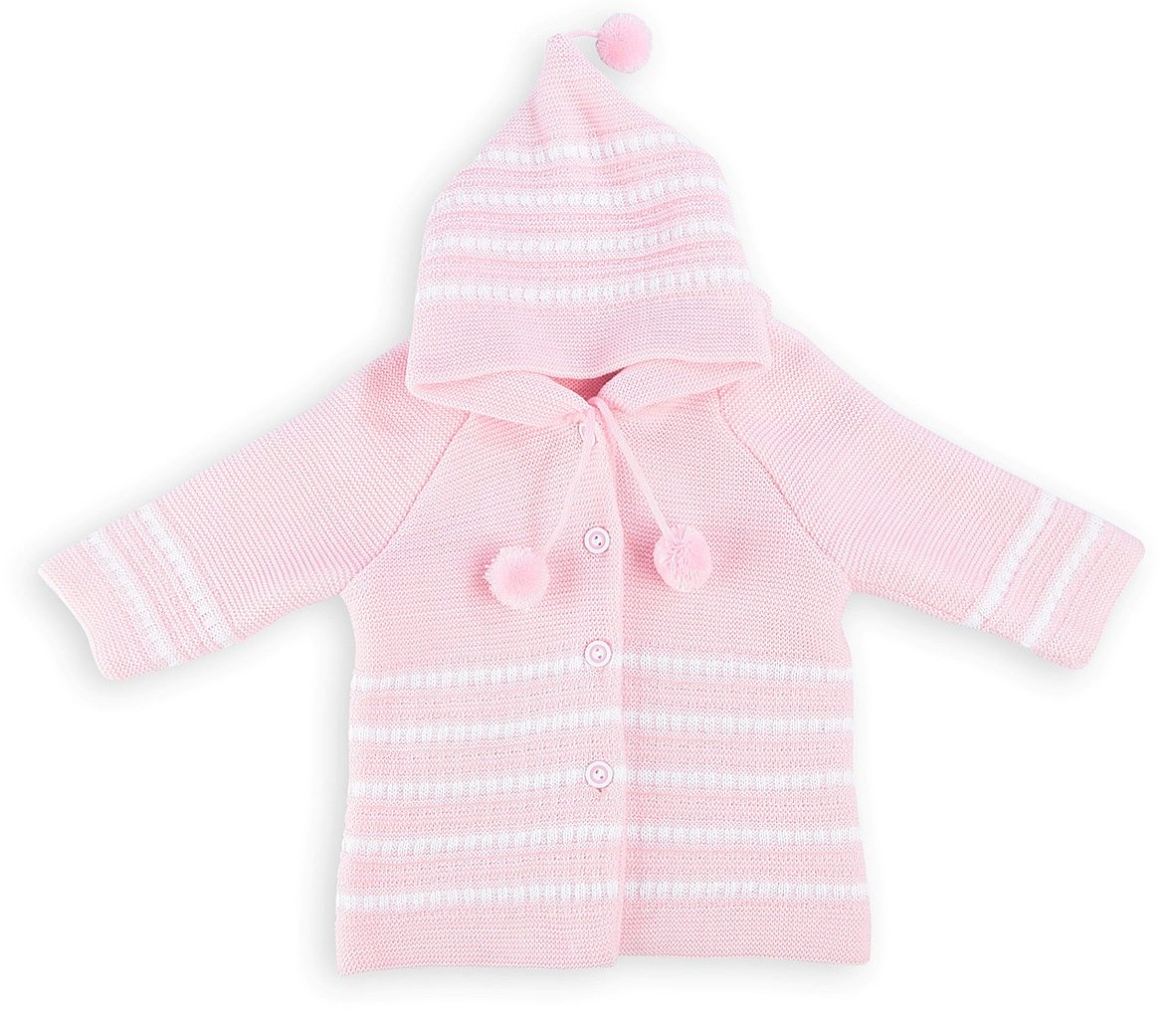 Lilax Baby Girls' Striped Knit Cardigan Sweater with Hood 9-12M Pink