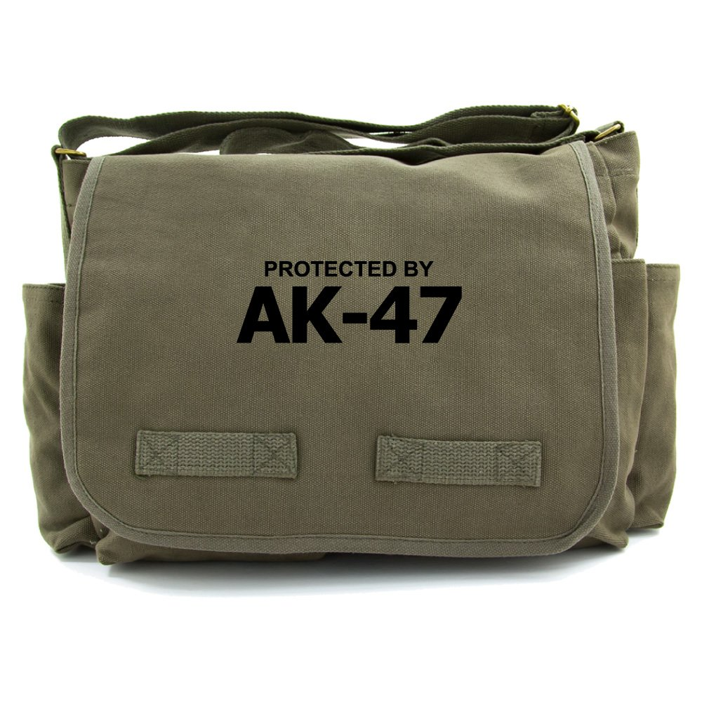 Protected by AK-47 Army Canvas Messenger Shoulder Bag in Olive /& Black