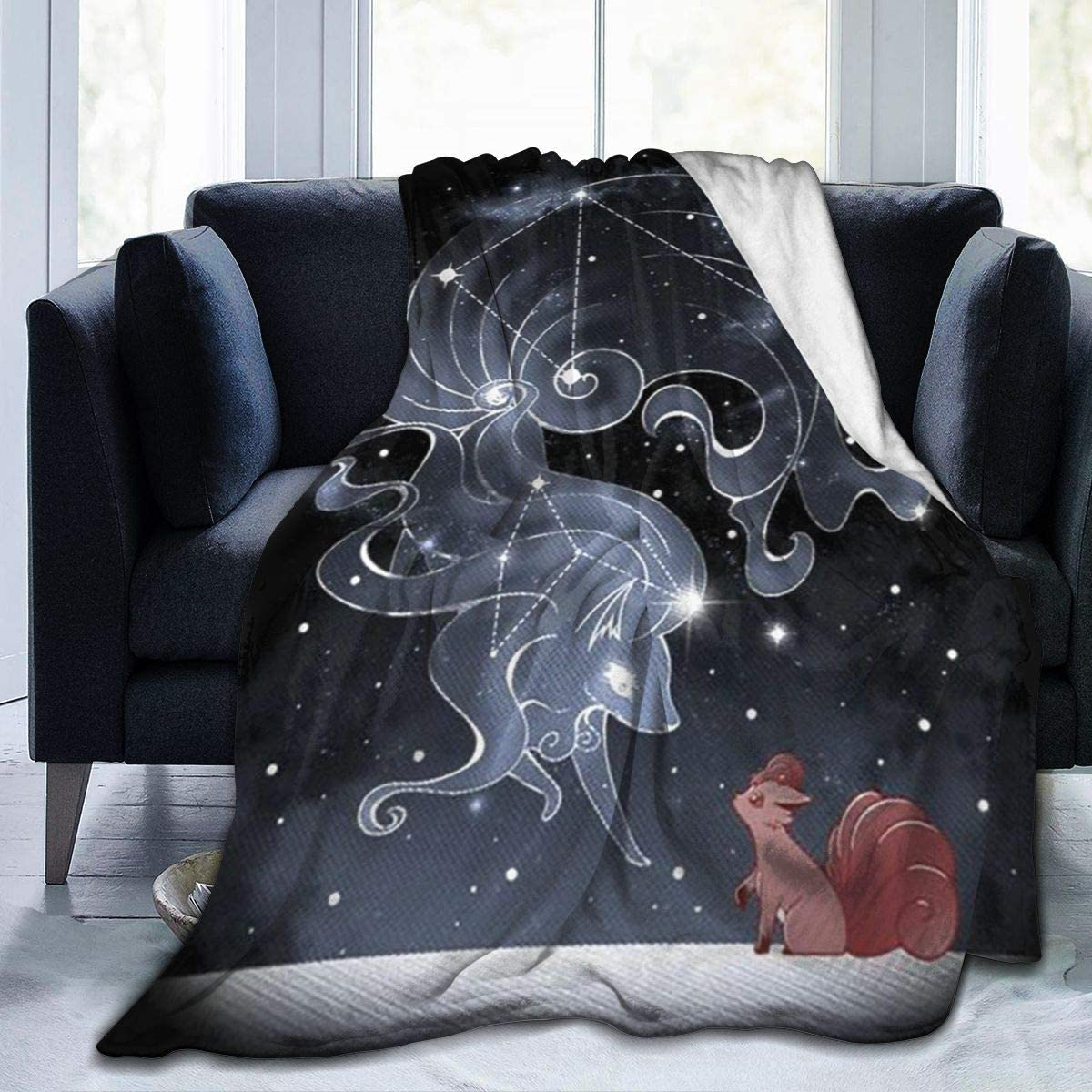 Poke-mon Ninetails Constellation Fleece Blanket Ultra-Soft Lightweight All Seasons Fit Bed Couch Chair Office Flight and Outdoors