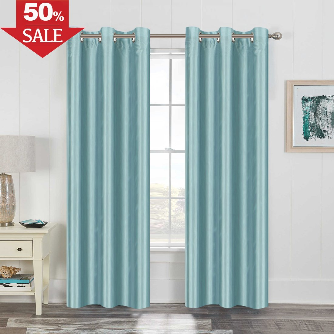 H.VERSAILTEX Faux Silk Satin Curtains 63 inch Length for Bedroom Window Curtain Panels Dupioni Light Reducing Drapes for Living Room Window Treatment Set, Grommet Top, 1 Panel, Beige