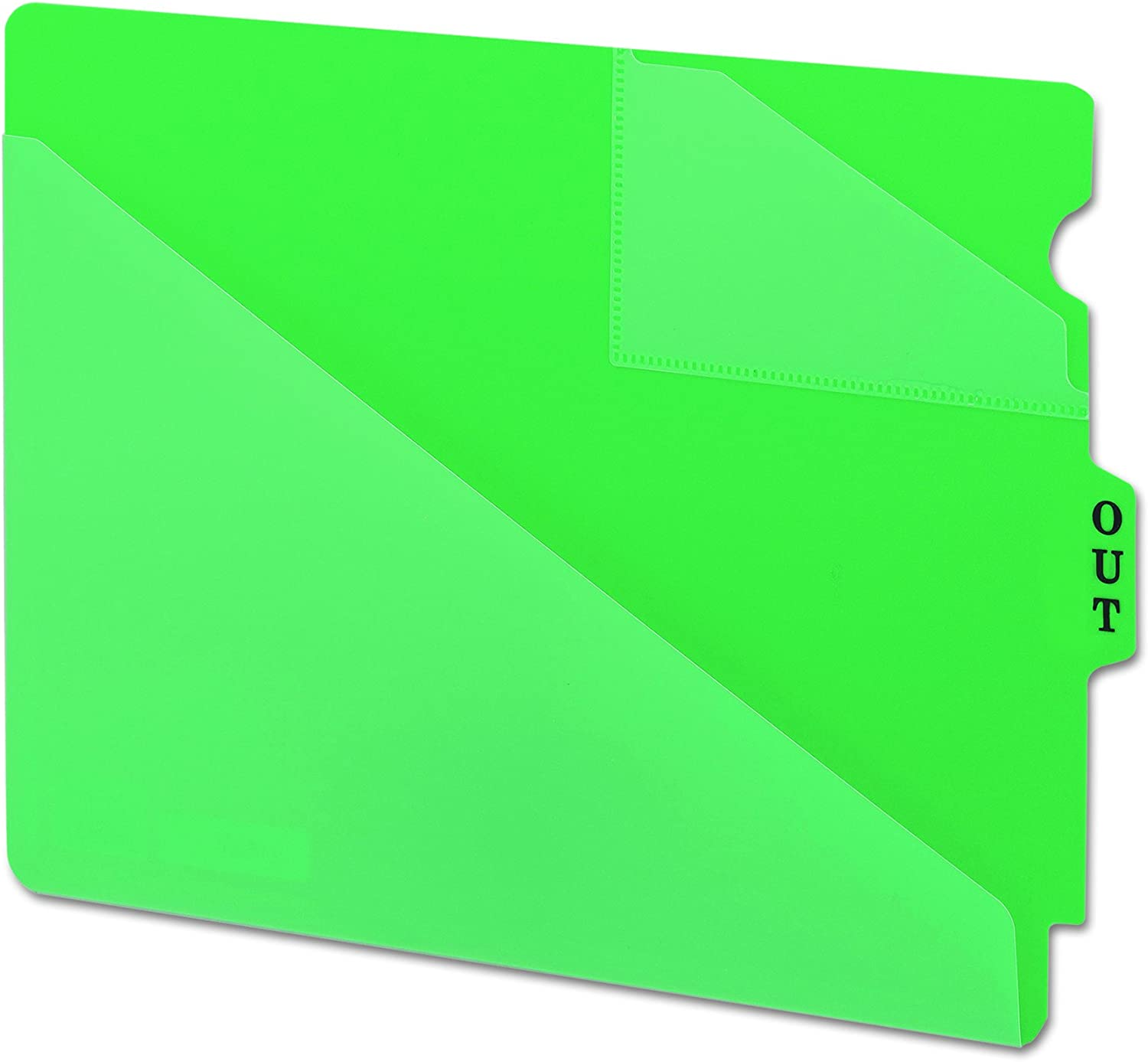 Smead End Tab Poly Out Guide Extra Wide Letter Size Center Position Tab 50 per Box Two-Pocket Style Blue 61961