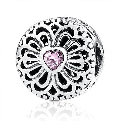 Love & Friendship, Pink CZ 925 Sterling Silver Charms Pandora European Bracelets Compatible