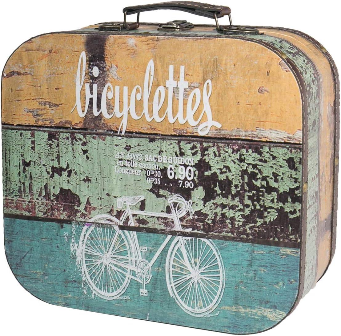 HMF 6431-125 Maleta Vintage de Madera | 25 x 21,5 x 8,5 cm | Pequeño | Decoración Bicicleta