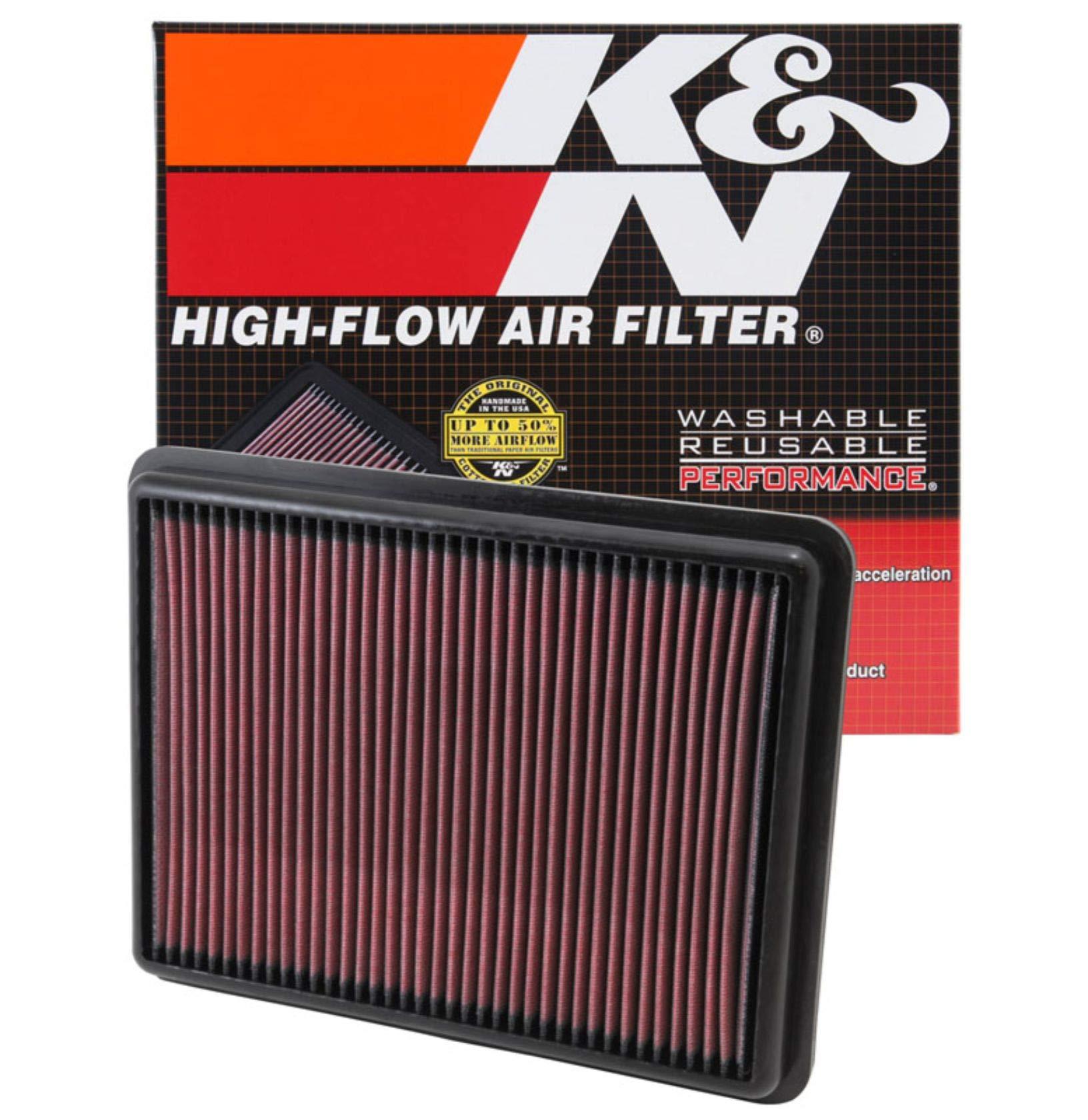 K&N engine air filter, washable and reusable: 2012-2019 Hyundai/Kia (Santa Fe, Sorento) 33-2493 by K&N