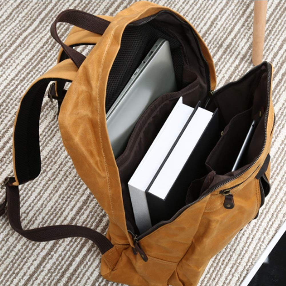Color : Army Green, Size : 34cm45cm12cm Vintage 20-35 Litre Rucksack Day-to-Day Bag Water Repellant /& Very Flexible Durable Daypack HWX Canvas Backpack Men /& Women